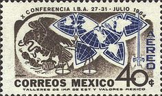 1964 Mexican postage stamp features unusual map projection