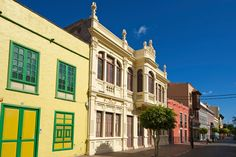 Greetings Card-Calle Real in San Sebatian, La Gomera, Canary Islands, Spain-Photo Greetings Card made in the USA Spanish Architecture, Canary Islands, Travel Images, Places To Go, Spain, Poster Prints, Portugal, Tours, Pictures