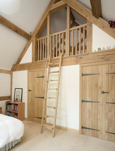 neat mezzanine idea in bedroom for extra storage