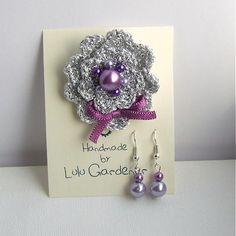 Lulu.Gardener / Ľadová kvetinka violet s náušničkami