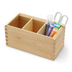 Oak Village/多用途ボックス ナチュラル 3675yen ペン立て、リモコン入れにもOKの、無垢材のボックス