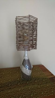 DIY Flaschenlampe Holz