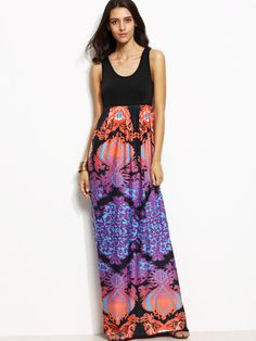 534c5c42a9 Black Vintage Polyester Scoop Neck Sleeveless Sheath Maxi Tribal Print NO  Fabric has some stretch Summer Tank