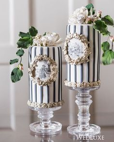 Fine Cakes by Zehra |  stripes give these miniature, cylinder-shaped wedding cakes with a traditional, hand drawn pastoral design an interesting spin! Wedluxe