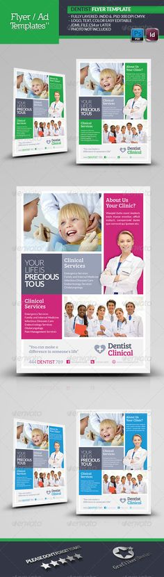 Dentist Flyer Template  #GraphicRiver        Dentist Flyer Template  Fully layered INDD   Fully layered PSD   300 Dpi, CMYK   IDML format open Indesign CS4 or later  Completely editable, print ready  Text/Font or Color can be altered as needed