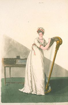 Playing the harp. Heideloff's gallery of fashion, 1802