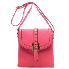 Pink - 5 Rhinestone and Goldtone Buckle Messenger Bag
