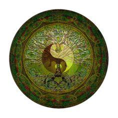 Green Yin Yang with Tree of Life