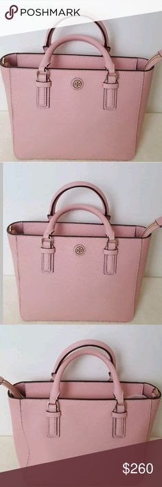 """Tory Burch Rose Sachet Square Satchel Crossbody Retail Price $450+ tax Drop-in zipper closure with leather pullers  Tubular handles with 3.54"""" drop  Adjustable, removable cross-body strap with 23"""" drop  1 interior zipper pocket, 2 open pockets                          10""""L x 7.5""""H x 5.25""""W  Saffiano Leather  Sold out! Excellent Preowned Condition! Tory Burch Bags Satchels"""
