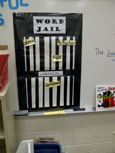 "great example of SECRET STORIES® Word Jail - for words that breaking the (spelling) rules/non-decidable sight words.although would NOT put words like ""phone"" in jail as is easily decided w/ the ""SECRETS! Abc Phonics, Phonics Words, Word Work Activities, Kindergarten Activities, Art Classroom, Classroom Ideas, Future Classroom, Spelling Rules, Love Teacher"