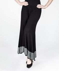 Look what I found on #zulily! Black & Silver Ruffle-Hem Palazzo Pants - Plus…