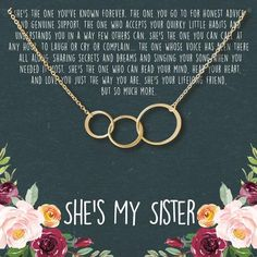 Amazing offer on Dear Ava Sisters Gift Necklace: Sister Birthday Gift, Big Sister Gift, 3 Asymmetrical Circles online - Chictopclothing Gifts For My Sister, Sister Sister, Sister Necklace, Circle Necklace, Birthday Gifts For Sister, Brother Birthday, Birthday Presents, Birthday Cards, Happy Birthday