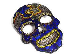 Day of the Dead Mexican Art Skull Wall by PiecesofhomeMosaics