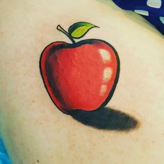 Red apple tattoo by @donmeatball @royalfleshtattoo #redapple #tattoo #red #fruit…