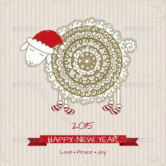Greeting Card with Sheep by SvitDen Description: 2015, Happy new year greeting card with cute sheep in Christmas sock. You get: Editable EPS Render in JPG format (h