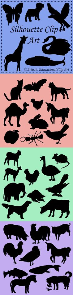 Silhouette Clip Art – 36 clips- 300 dpi   American Staffordshire Terrier, ant, apple, bat, bird, rabbit, butterfly, camel, cat, chicken, cow, crow, cuckoo, dog, elephant, fawn, fish, fish2, fly, giraffe, goose, hen, lamb, mouse, pig, pup, rooster, rooster2, sheep, sniffing dog, swan, trout, unicorn, whale, wood duck, zebra