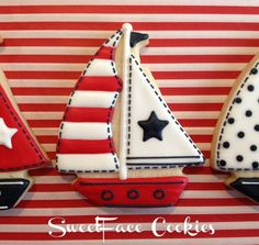 Patriotic sailboat cookies