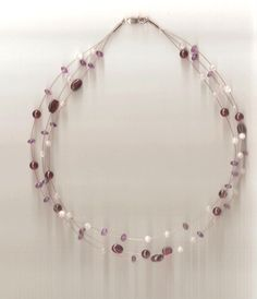 Amethyst, Garnet & Moonstone bead necklace with sterling silver clasp 15.75 ins #Unbranded #Choker