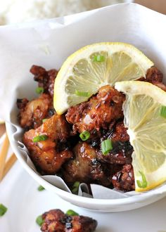 Asian Style Chicken Nuggets with Lemon Glaze - A fun twist on the traditional version with a lemon glaze that is out of this world!