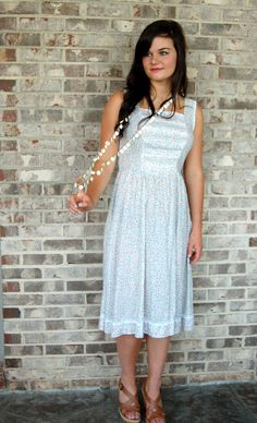Vintage flowered dress pintuck pleats cotton by vintagerunway, $25.00