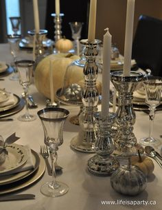 silver thanksgiving table
