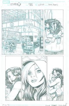 Original Comic Art titled Ultimate X located in Kam's X-MEN Comic Art Gallery Comic Book Layout, Comic Book Pages, Comic Book Artists, Comic Book Characters, Comic Artist, Comic Books Art, Artist Art, Black And White Comics, Black White Art
