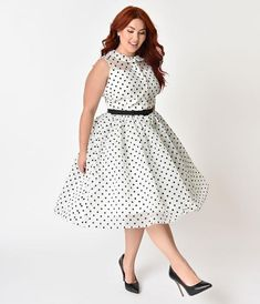 313501504a330 Unique Vintage Plus Size 1950s Style White   Black Dotted Organza Georgia  Swing Dress