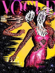Brilliant remix of a Vogue cover by Hattie Stewart. Love her line work. Magazine Cover Page, Vogue Magazine Covers, Cool Magazine, Vogue Covers, Magazine Design, Photo Illustration, Graphic Illustration, Graphic Art, Graphic Design