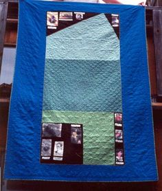 An aerial view quilt of land parcels, including photos of family owners through the generations.
