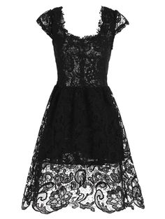 Cocktail Lace Short Fit and Flare Prom Dress, BLACK, L in Lace Dresses | DressLily.com