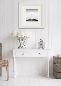 The White Lighthouse hallway furniture. New England 2 drawer white console table. Can be used in a kitchen, living room or hall table. White beach, Coastal and cottage furniture for home interiors. Small Hallway Furniture, Hall Furniture, Cottage Furniture, White Furniture, Living Room Furniture, Furniture Plans, Very Narrow Console Table, White Console Table, Hallway Console