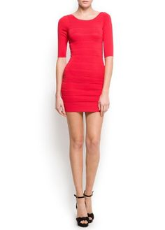 Mango Women's Bandage Knit Dress Lego Coral M #womensdress