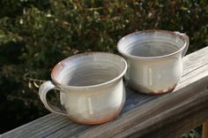 2 Pottery Soup Bowls in Cream Glaze Seagrove NC by Beaverspottery, $30.00