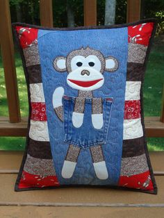 """Pattern for """"Clever Monkey""""  Quilted Pillow made with Upcycled Recycled Denim Jeans"""