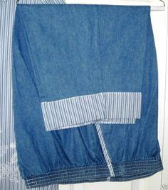 Alfred Dunner Size 20 Cropped Pants Denim Searsucker Trim Peddle Pushers Capri #AlfredDunner #CaprisCropped