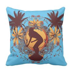 Shop Surfer Girl Throw Pillow created by stationeryshop. Outdoor Throw Pillows, Plush, Design, Sweatshirts