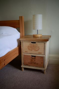 Rustic wine box bedside table - Handmade by BoisRustique on Etsy https://www.etsy.com/listing/167281209/rustic-wine-box-bedside-table-handmade