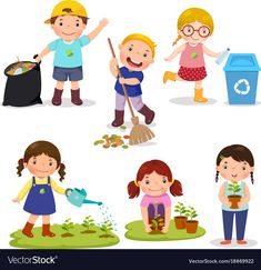 Set of cute kids volunteers. Girls planted and watering young trees. Math For Kids, Activities For Kids, Hand Washing Poster, Picture Composition, Kids Background, Earth Day Crafts, School Frame, School Painting, Drawing For Kids