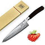 #2: SHAN ZU Japanese Damascus Knife 8 VG10 Steel Blade Professional Chef Knife Utility Kitchen Cutlery Brown Wood Handle with Gift Box