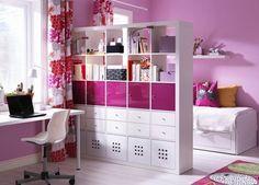 Split shelving pink color kids room
