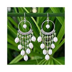 Sterling Silver 'Peridot Ruffles' Pearl Earrings (5-6 mm) (Thailand) - Overstock™ Shopping - Great Deals on Novica Earrings