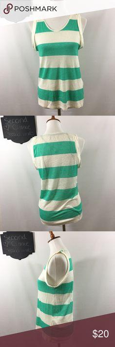 Zara Collection 100% Linen Green Striped Top Zara Collection 100% Linen Green Striped Sleeveless Women's Top Sz S Zara Tops