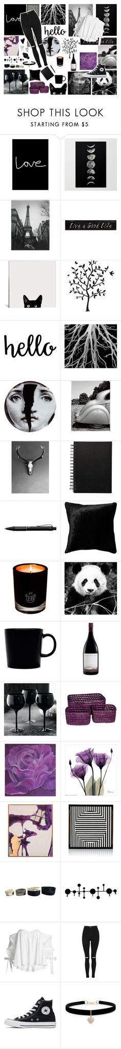 """""""Midnight ♡"""" by l-eliza ❤ liked on Polyvore featuring Native State, 3R Studios, Godinger, Fornasetti, Fisher Space Pen, Squarefeathers, EB Florals, iittala, Grandin Road and Eightmood"""