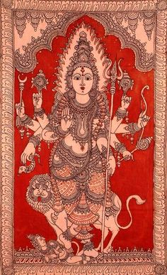 The Warrior Goddess Durga - Kalamkari Cotton Painting