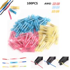 100PCS Red Blue Yellow 3sizes Heat Shrink Butt Crimp Terminals Insulated Electrical Wire Cable Connectors