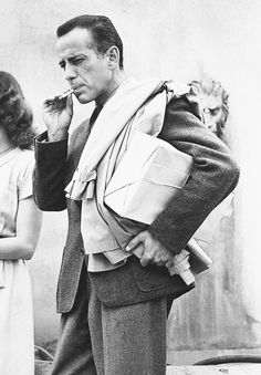 Humphrey Bogart on the set of Passage to Marseille, 1944.