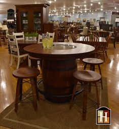 So Fun Authentic Wine Barrel Table And Stave Barstools Amish Quality Adds A Twist