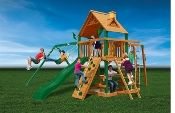 Gorilla Playsets 01-0020 Navigator Swing Playset Slide Sandbox /w Warranty. The Blue Ridge Navigator is a large playset. It's suitable for younger and older children. It has 2 swings, 1 trapeze bar with rings, a real wood roof play house with chimney, wave slide, picnic table, rope ladder, sandbox, rock wall with climb rope and a whole list of accessories!