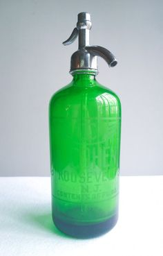 Antique Green Glass L. Cohen Seltzer by FiftyBeautifulThings