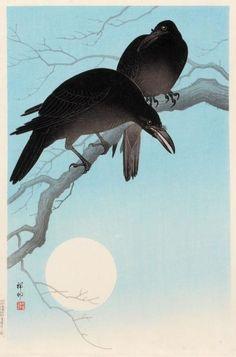 "fujiwara57: """"""Crows in Moonlight"" by Ohara Koson 小原古邨 (1877-1945). "" """